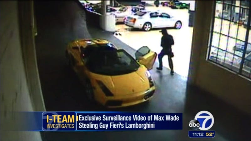 Illustration for article titled Watch A Ninja Teen Rappel Into A Dealership To Steal Guy Fieri's Lambo