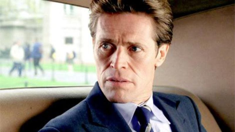 Dafoe in Spider-Man, perhaps pondering the notion of a six-day week