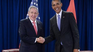 President Raúl Castro of Cuba and President Barack Obama shake hands during a bilateral meeting at the United Nations in New York City on Sept. 29, 2015.Anthony Behar-Pool/Getty Images