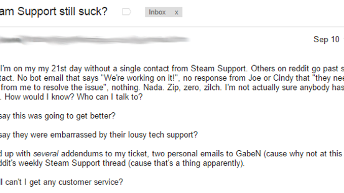 Steam Customer Service Is Still Terrible