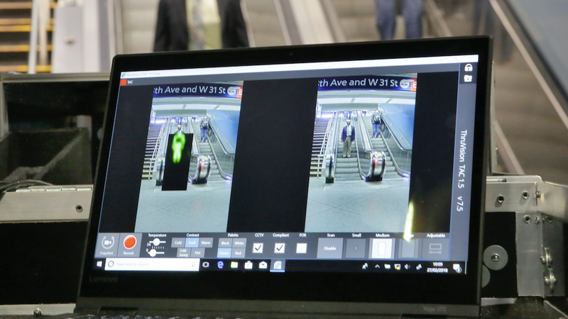 ThruVision suicide vest-detection technology reveals an suspicious object on a man, at left, during a TSA demo in Penn Station.