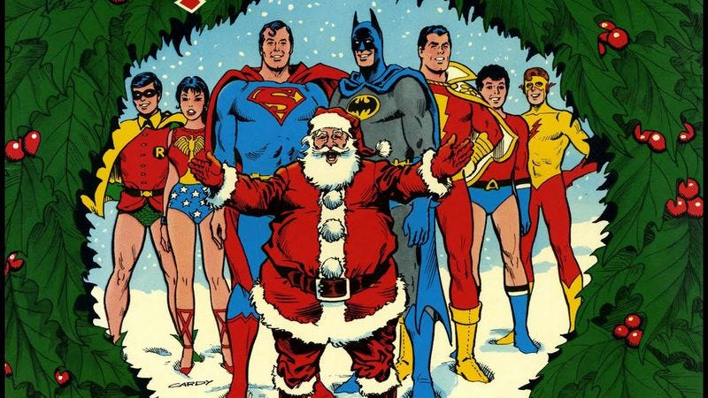 Illustration for article titled Christmas With The Super-Heroes searched for the holiness of Superman and friends
