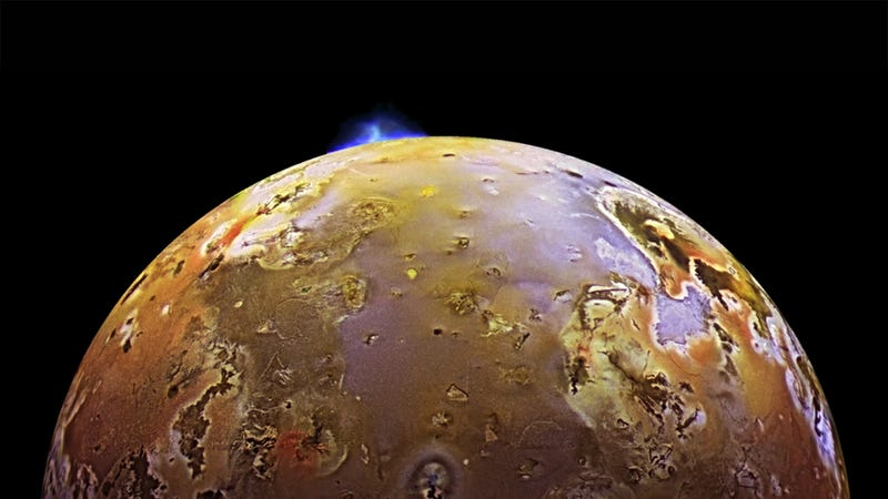 Jupiter's moon Io. And yes, that's a volcano erupting up top. (Image: NASA)