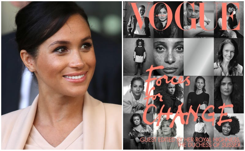 Meghan, Duchess of Sussex on January 30, 2019 in London, England (left); British Vogue's September 2019 issue.