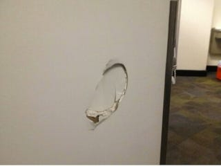Illustration for article titled Kenneth Faried Kicked This Hole In A Wall After Last Night's Loss