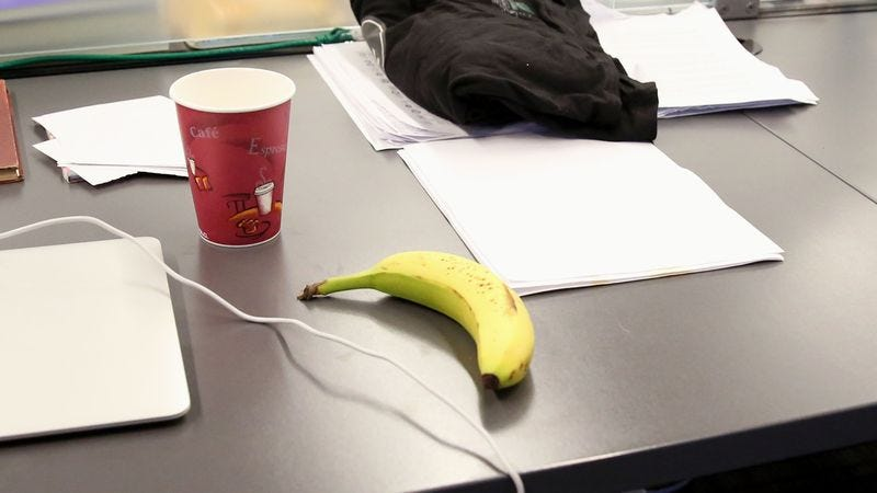 Illustration for article titled Unclear What Coworker With Banana On Desk All Day Waiting For