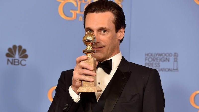 Illustration for article titled Can Someone Please Fix the Spelling On Jon Hamm's Golden Globe?