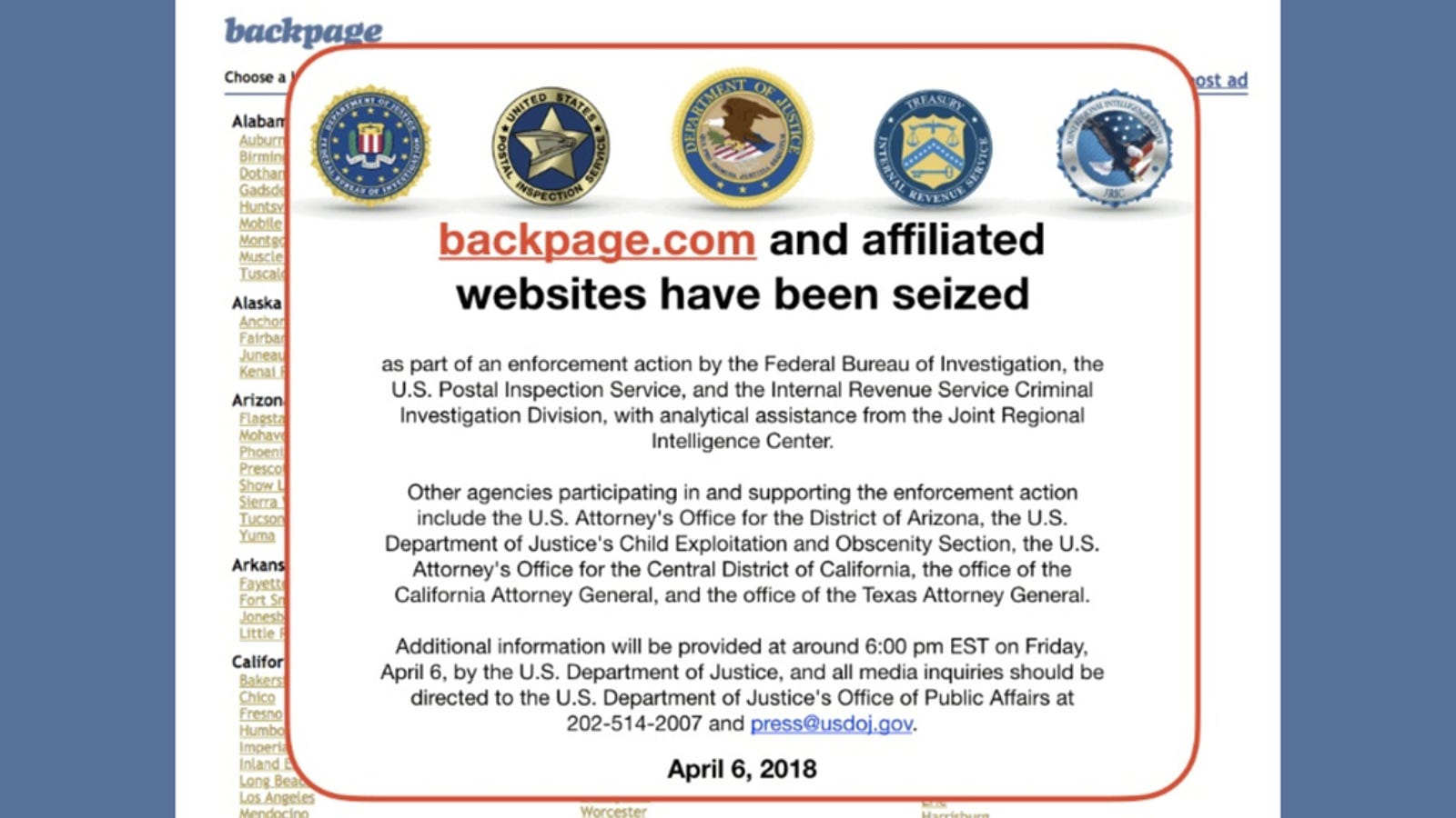 Backpage Com Phoenix Classified >> Backpage Has Been Seized by the FBI—Case Sealed by Judge ...