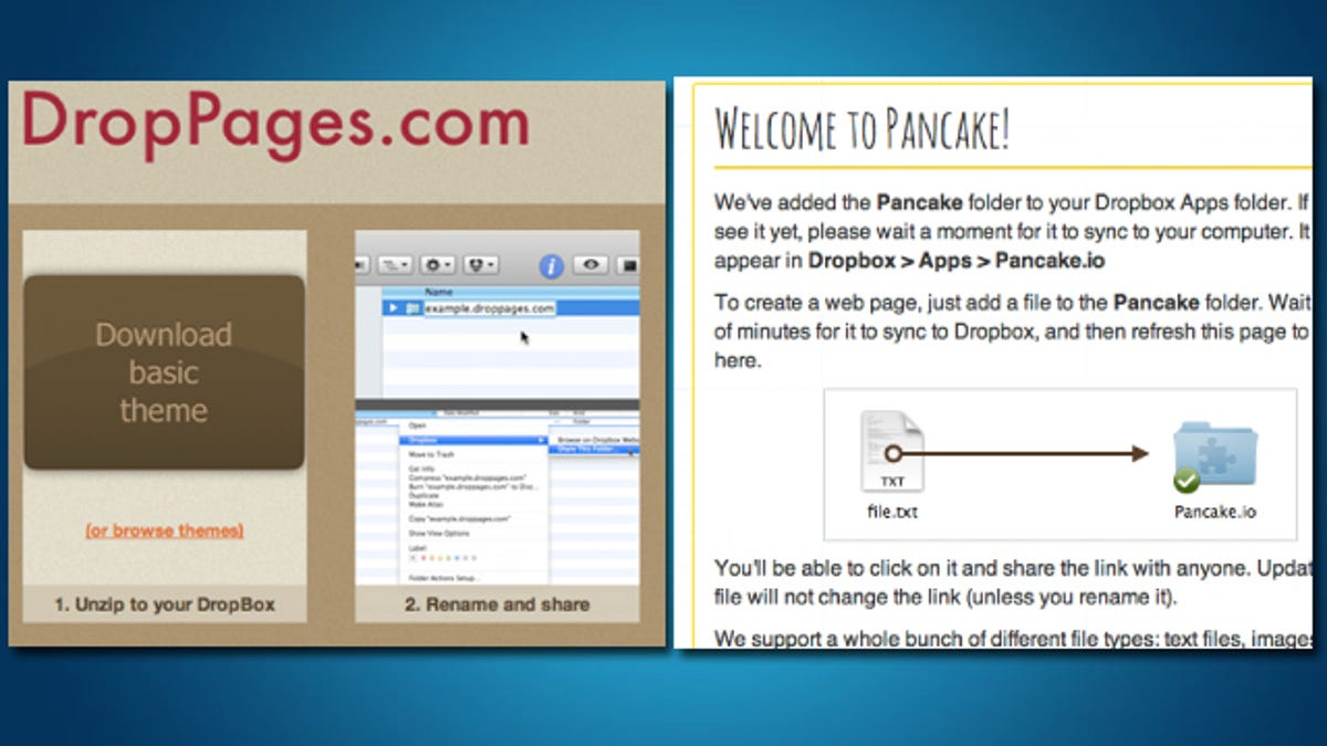 Host Web Pages for Free within Dropbox with DropPages or Pancake io