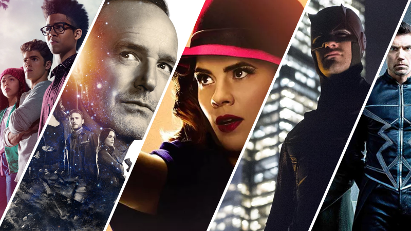 From Left to Right: Runaways, Agents of SHIELD, Agent Carter, Daredevil, and Inhumans.