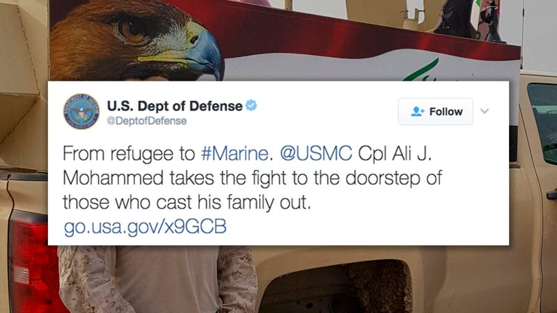 Illustration for article titled Is the Department of Defense Subtweeting Trump? [Updated]