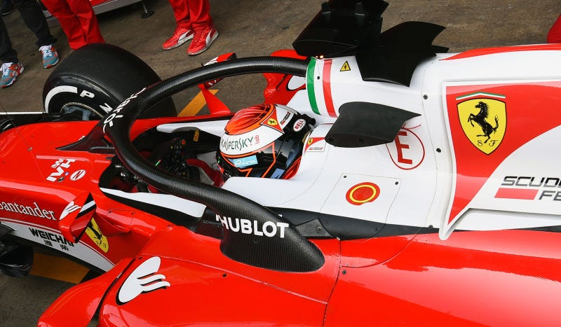 The 'halo' tested on a Ferrari last year. Photo credit: Getty Images