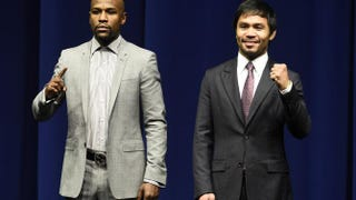 Floyd Mayweather Jr. and Manny Pacquiao during a press conference in Los Angeles March 11, 2015. The two are set to box May 2, 2015, in Las Vegas.ROBYN BECK/AFP/Getty Images