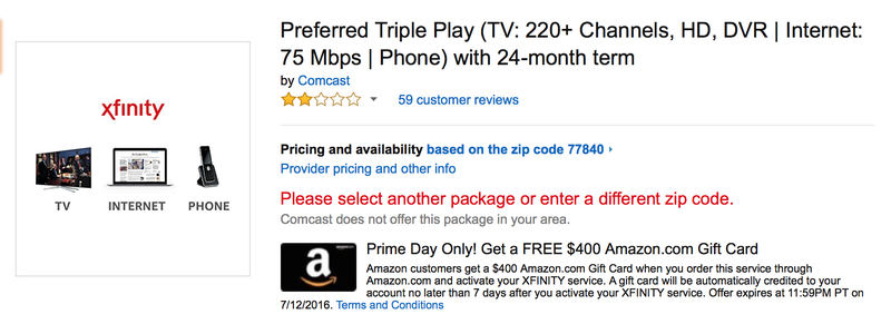 Comcast Triple Play, $400 gift card | Internet + TV, $200 gift card | Internet only, $100 gift card