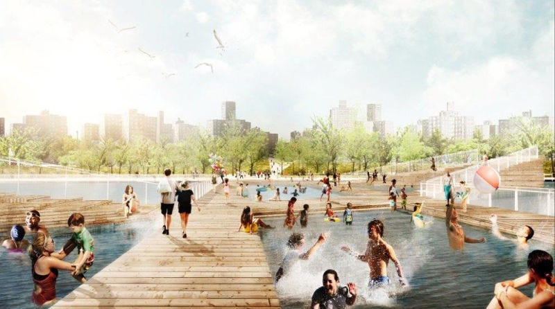 Flood barriers that add public space, like these pools, are probably not happening