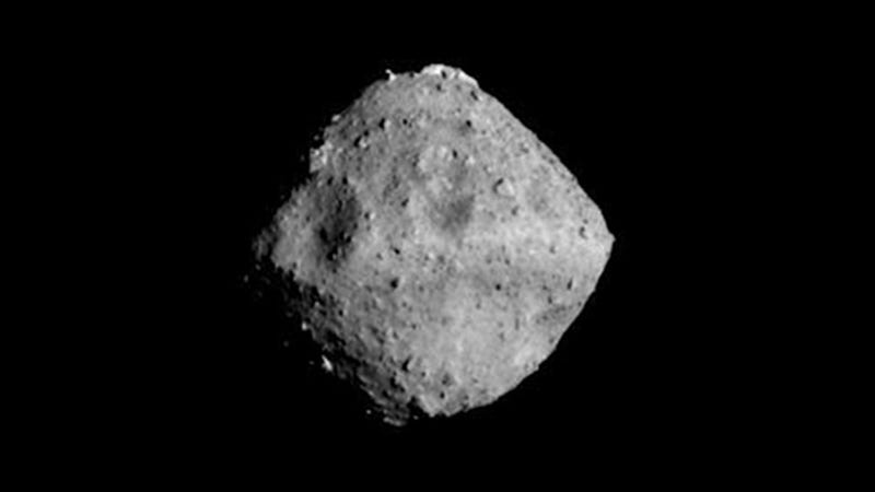 Asteroid Ryugu, seen at a distance of 25 miles (40 km) on June 24, 2018.