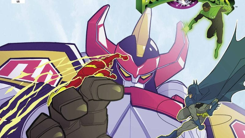 Illustration for article titled Power Rangers meet DC heroes in this Justice League/MMPR #3 exclusive