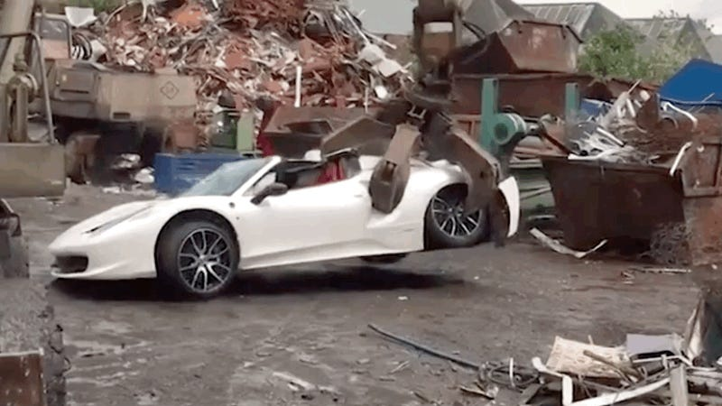 It Is Not Fun To Watch This Crane Knead A Ferrari 458 Spider Like Bread Dough
