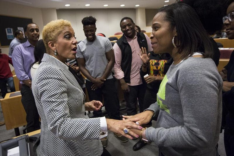 Linda Johnson Rice of Johnson Publishing Co. (left) during a visit to Harvard University in February 2016 to discuss Ebony's business dilemma (Keith Bedford/Boston Globe)