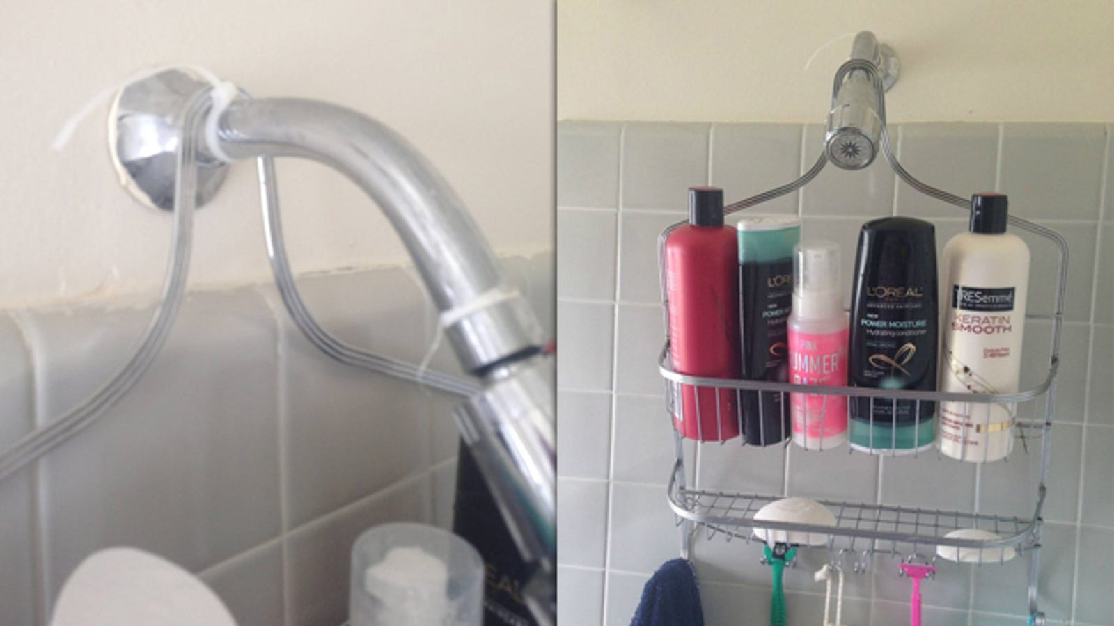 how to keep shower caddy from slipping down Use a Zip Tie to Hold a Shower Caddy in Place how to keep shower caddy from slipping down