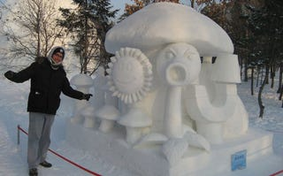 Illustration for article titled Plants vs Zombies vs Snow Sculpture