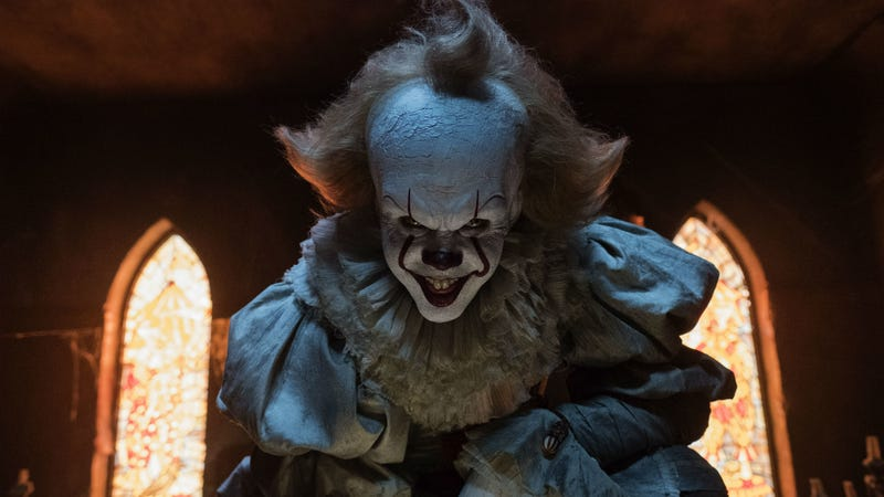 Pennywise looms in the first film, and he'll loom anew in the sequel.