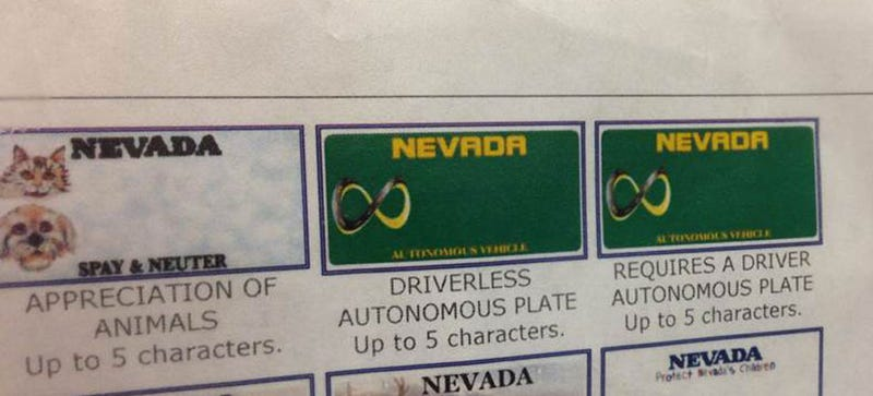 Illustration for article titled Nevada DMV Is Offering Special Plates For Autonomous Cars
