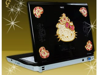 Illustration for article titled Swarovski-embedded Hello Kitty Laptop Makes Us Wince, Groan, then Vomit in Anger