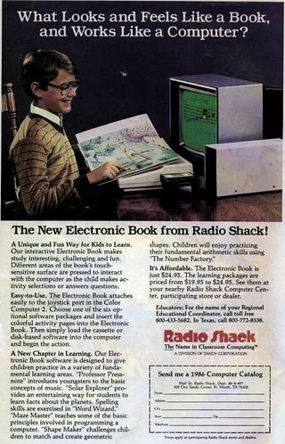 Illustration for article titled The Electronic Book, Radio Shack 1986