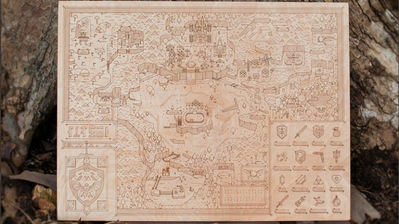 Preserve your childhood with this wood carving of the map from Ocarina Of Time