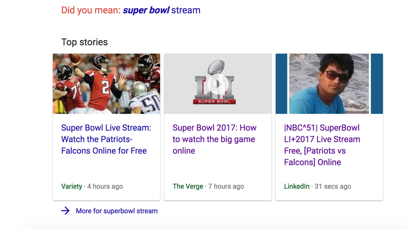 Illustration for article titled Super Bowl Spammers Keep Tricking Google's Top Stories Module [Updates]