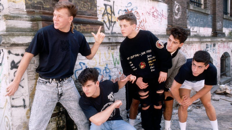 1989: The members of New Kids on the Block (L-R) Donnie Wahlberg, Jordan Knight, Joey McIntyre, Jonathan Knight, and Danny Wood