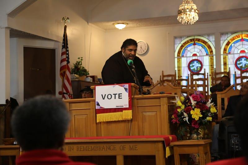 Rev. William Barber at Antioch Missionary Baptist Church in Cuthbert, Ga., on Saturday, November 3, 2018.