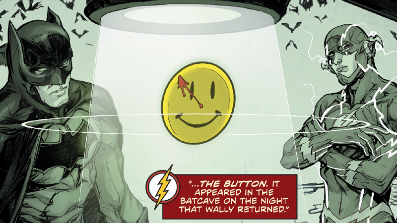 Illustration for article titled Batman and Flash's Big WatchmenMystery Just Took One Hell of a Turn