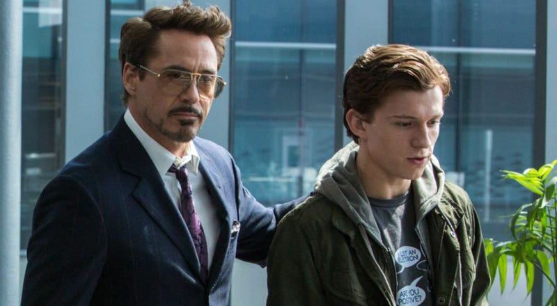 Tony Stark (Robert Downey Jr.) and Peter Parker (Tom Holland) in Spider-Man Homecoming. Image: Sony