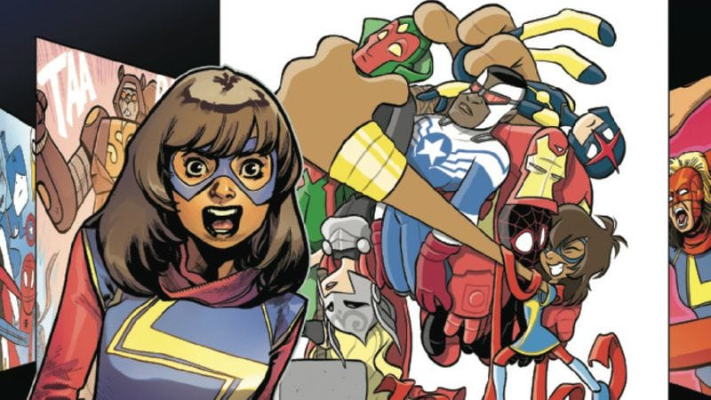 Online fanfiction jumps to the page in this Avengers Annual exclusive