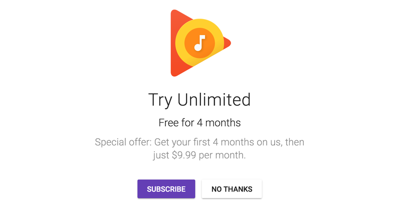 4-month Google Play Music Unlimited/YouTube Red free trial | New members only