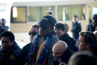 Dennis Rodman arrives at Beijing's international airport on Dec. 19, 2013. Rodman is on a visit to North Korea from Dec. 19 to 23.WANG ZHAO/AFP/Getty Images
