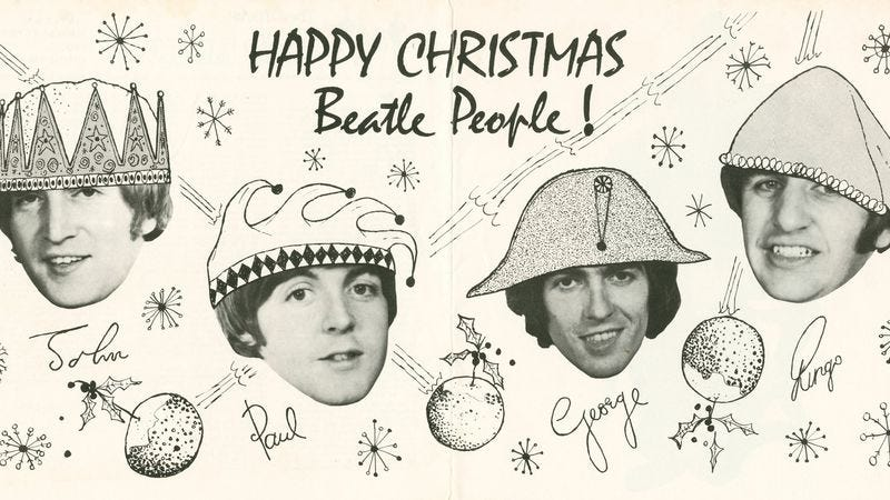 Illustration for article titled The Beatles' Christmas albums are wacky and whimsical, until they're not