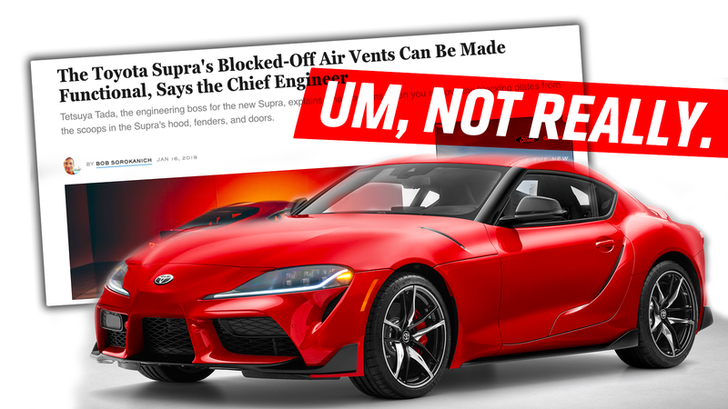 I Just Don't Believe What the Toyota Supra's Chief Engineer Says About The Supra's Fake Vents