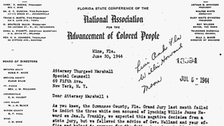 This letter, dated June 30, 1944, from Florida lawyer Harry Moore to the NAACP's Thurgood Marshall, addresses the nonindictment of Willie James Howard's killers by a grand jury.