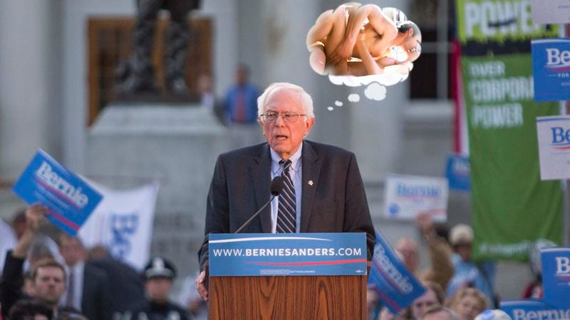Illustration for article titled Campaign Setback: A Thought Bubble With Pornography Inside Of It Has Appeared Over Bernie Sanders' Head