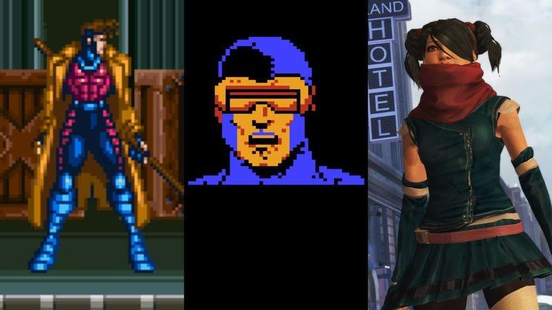 Left screenshot: X-Men: Mutant Apocalypse; Middle screenshot: The Uncanny X-Men; Right screenshot: X-Men: Destiny/Activision