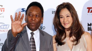 Brazilian football legend Pelé with his wife Oct. 17, 2012, in MonacoVALERY HACHE/AFP/Getty Images