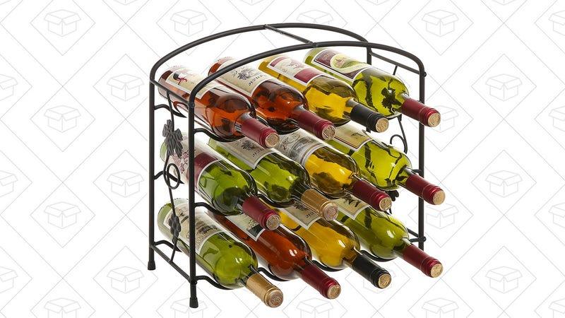 Modern Grapevine Design Black Freestanding Metal 12 Bottle Wine Storage Shelf Rack | $24 | Amazon