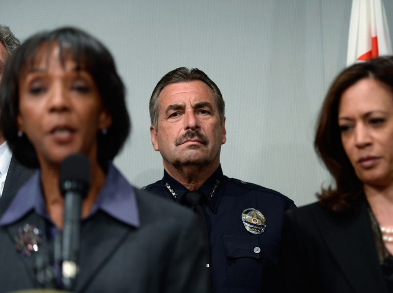 Los Angeles District Attorney Jackie Lacey, LAPD Chief Charlie Beck and Sen. Kamala Harris, D-Calif. (Kevork Djansezian/Getty Images)