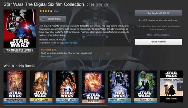 add the first six star wars films to your digital library for 69