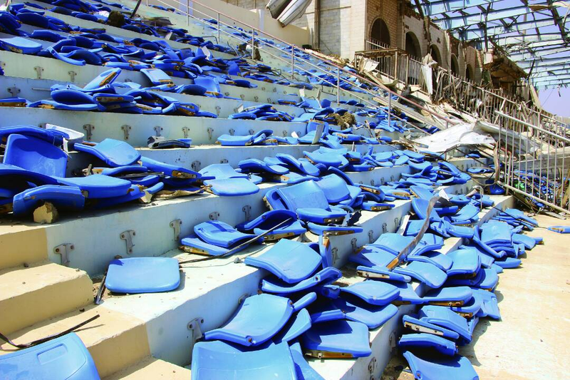May 22 Stadium in Aden, after the coalition onslaught.