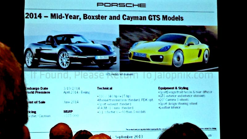 Illustration for article titled 2014 Porsche Boxster And Cayman GTS Will Cost $75,000