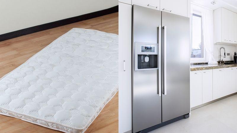 A mattress and a refrigerator.